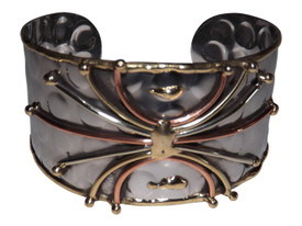 """Spider Stainless Steel Cuff  stainless steel multi-colors of silver, brass and copper 1"""" gap 7"""" length from (end to end)"""