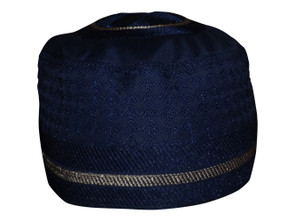 "Navy Blue Embroidered Prayer Cap  Dark navy blue kufi style cap Tan embroidery Fits up to a 22"" circumference Made in India."