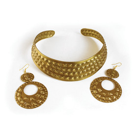 "Studded Brass Choker & Earrings  14"" choker with gap for adjustment. 3.5"" earrings.Made in China."