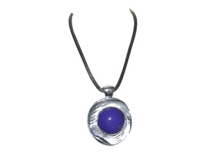 """Purple Pendant Necklace  This 12-14"""" silver necklace features a large dark purple resin bead nestled into a silver disk creating a dramatic attention grabber.   Made in India."""