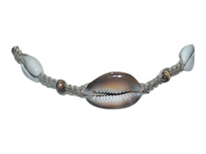 "Tiger's Eye Cowrie Hemp Choker  10-12"" cowrie hemp choker with varying size cowrie shells. Made in Indonesia."