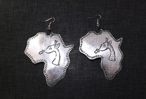 "Large Africa Map Safari Metal Earrings  Silver recycled metal 2.5"" wide x 3"" length."