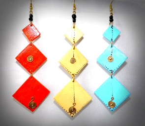 "Cascading Diamond Shaped Wooden Earrings  Long drop earrings Gold accents Colors: Light Blue, Red and Natural 3"" in length"