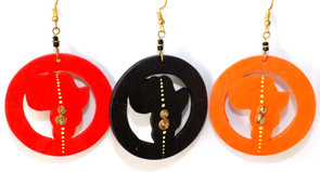 Cut-Out Africa Map Hoop Earrings  Cut-out wooden hoop africa map earrings. Comes in three colors as shown: Red, Black and Orange. Made in Kenya.