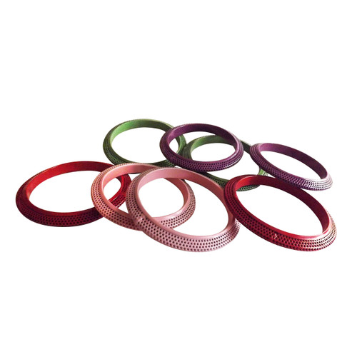 Metal Bangles  Metal bangle bracelet for girls.  These are simple slide on bangles in pink, red, purple and lime green. Made in India.