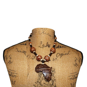 Natural Coconut Shell Africa Map Pendant Necklace
