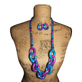 "Freeda Chunky Chain Link Necklace Set  This vintage chunky multicolored chain link style necklace set is 18"" in length with 1.5"" matching hoop earrings. Hook clasp. Extension chain."