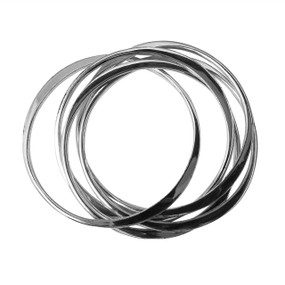 """Silver Multi-Bangle Bracelet  Silver intertwined silver bangles 2 7/8"""" opening. Not Sterling Silver. Made in China."""