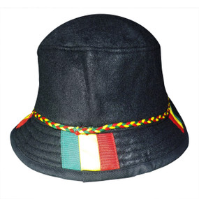 Rasta Felt Bucket Hat  Rasta fisherman felt material bucket style hat.  Fits a small to medium size only.  Material: Felt.