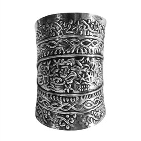 "Silver Engraved Cuff Bracelet  Measures 3.5"" in length, 1.5"" opening and 6.5"" from end to end. Made in India."