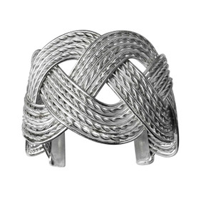"Silver Braided Cuff Bracelet  6.5"" from end to end  2"" wide  2"" opening  Made in India."