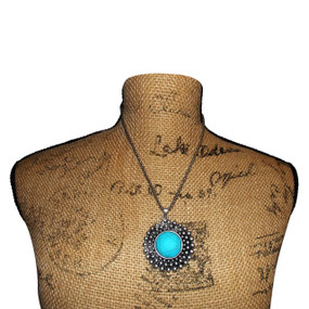 """Turquoise Oversized Pendant Necklace  12"""" in length and adjustable with extra chain. Made in China."""