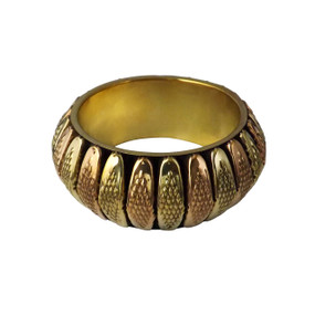 "Tri-Tone Textured Bangle  Opening 2 7/8"" opening. Made in India."