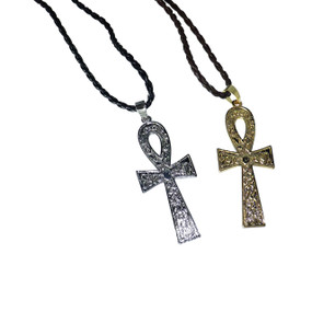 "12"" Metal Engraved Ankh Pendant Necklaces  12"" faux leather cord; 3.5"" engraved ankh pendant in Gold or Silver.  Made in China."