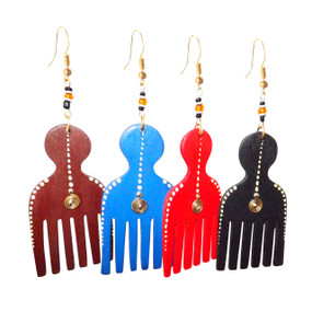 "Wooden Afro Comb/Wooden Pick Earrings  2.5"" Retro 70's afro comb/wooden pick large earrings, gold brass accents.  Colors: Burgundy, Royal Blue, Black and Red. 2.5"" big."