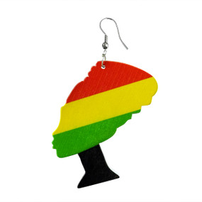 African Queen African Queen resin earrings in two styles of (headwrap) or (afro). Large earrings. Made in China.