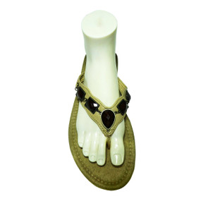 Avon Faceted Stone Thong Sandals  Leather like flip-flop with faux dark brown stone embellishments and suede like foot bed. Skid-resistant sole.  Color: Beige Sizes: M (7-8). Made in China.
