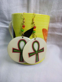 "Egyptian Ankh Earrings  Material: Metal, Acrylic Beads  These 2"" earrings have a clear epoxy finish to protect the image. The art work is sealed."