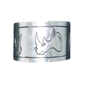 Handmade Aluminum Safari Print Cuff Bracelets  Beautifully etched safari print handmade Aluminum cuff bracelets..very easy to adjust to any size wrist. Selections: Lion, Elephant & Rhino.