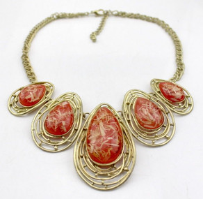 """Goddess Golden Bib Necklace  Each tear drop shaped stone is nestled into its own golden nest. 12-16"""" adjustable necklace with lobster styled clasp.  Made in China."""