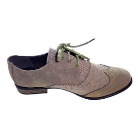 Taupe Suede & Canvas Oxfords  Dark taupe Oxfords in a faux-suede finish Sophisticated lace-up flats Cushioned interior Restricted flats are worth dancing about Sizes 6.5 and up