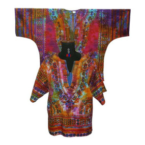 "Tie Dye Dashiki Top   A new look to the traditional dashiki top.  100% cotton Fits up to a 50"" chest, Length is 38""  Has two front pockets Hand Wash Bright colors"