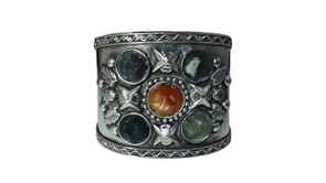 "Five Stone Antique Silver Cuff  2.5"" wide 1"" gap 7"" from end to end Made in India."
