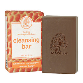 Amazonian Brown Clay & Manuka Honey Cleansing Bar-6 oz.  Do you want to achieve bright and clear skin?   This Brown Clay natural skin soap eliminates skin impurities...works well for acne and soothes the skin.  Ingredients:  Honey, Sodium Palmate* Sodium Cocoate (or) Sodium Palm, Kernelate, Water (Aqua), Glycerin, Fragrance (Parfum), Sodium Chloride, Illite, Theobroma Cacao (Cocoa) Seed Butter, Tetrasodium Etidronate, Pentasodium Pentetate, Tocopheryl Acetate.  Avoid contact with eyes.