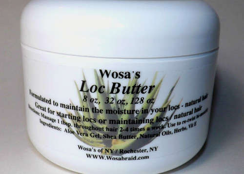 Have celebrity-styled hair without the cost Get soft, lustrous lock with Wosa's loc butter. This luxurious moisturizing butter deeply penetrates the hair shaft, enriching, healing, and softening instantly! Made with an all-natural blend of aloe, herbal tea, and blossoming essential oils. Ingredients: Aloe Vera Gel, Shea Butter, Natural Oils, Herbs, Vitamin E. 8 oz.