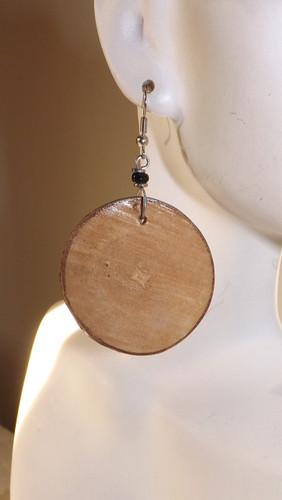 """2.5"""" solid lumber chip earrings."""