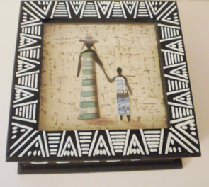 "African Decorative Shadow Box  ~Store jewelry and keepsakes, features inlaid African figurines.   ~Measurements: 8"" x 8"".   ~Interior: Black faux suede"