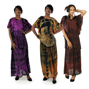 "One size fits most. Top fits up to 54"" bust, skirt fits up to 50"" waist x 39"" long. Available in Dark Brown, Rust & Purple.Machine wash cold water with like colors."
