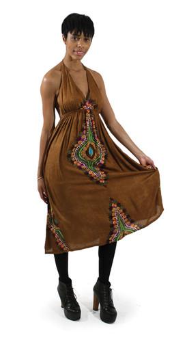 Traditional Print Backless Sundress