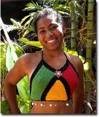Rasta Crocheted Top w/ Tassels Sexy Rasta Tri-Color Top with round tassels around bottom edges