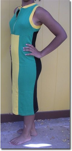Jamaican Stretch Dress Jamaica cotton dress. Colors of the Jamaican flag in vertical striped panels. Front zipper.