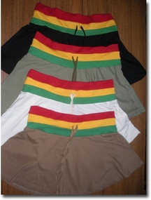Jamaican Mini Skirts Jamaican skirt with solid background and waist band in Jamaican colors. Comes in Black, White, Tan and Olive. 100% cotton. Sizes M, L ,XL