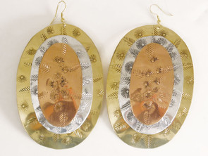 """Large Oval Tri-Tone Earrings....3.5"""" long and 2.25"""" wide. Made in India."""