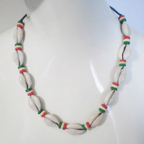 "12"" Cowrie Shell Rasta Beaded Necklace. Made in India."