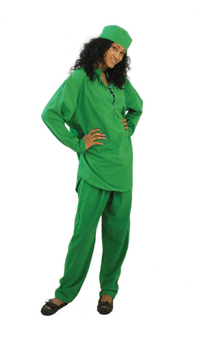 "Cotton Pant Set-Unisex  Slip into this comfortable cotton pant suit with a lace-up neckline for a look that is contemporary and cultural. 100% cotton; hand wash for best results. One size fits most; fitting up to a 52"" chest, 34"" shirt length, 54"" drawstring waist, and 28"" inseam (42"" hip to hem). Colors: Gray, Brown, Black, Royal Blue, Hunter Green, Off White, Orange, Pink, Forest Green, Navy Blue, Purple and Red. Made in China."