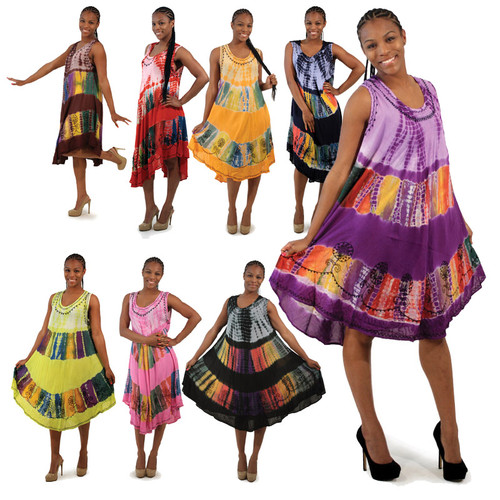 """Tie Dye Sun Dress  For a light, breezy look that encapsulates fun and African style, try this tie dyed sun dress. You'll feel soft, cool and instantly beautiful. 100% rayon; best if hand washed. One size fits all; fitting up to a 48"""" bust. 40"""" in length. Made in India. Note: Dress is some what on the sheer side so slip or spanks would be advisable."""
