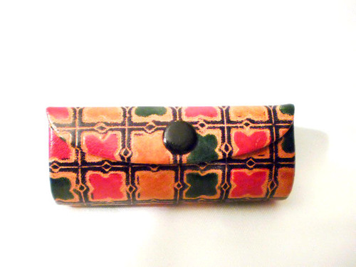 "Egyptian Leather Lipstick Cases  Various prints are 1.5"" wide x 3.5"" length. Made in India."