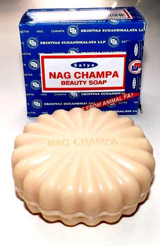 Nag Champa Beauty Bar Soap  Skin softener Good lather Deodorant for all day freshness Ingredients: Distilled palm fatty acid / palm stearine, distilled rice bran fatty acid, coconut oil, titanium dioxide, preservative & perfume.