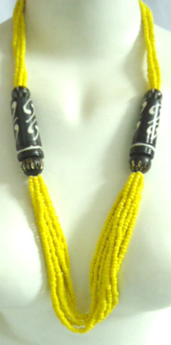 """14-16"""" Yellow Beaded Bone Necklace. Made in India."""