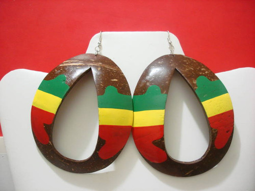 Large Rasta Coconut Shell Earrings (Brown)