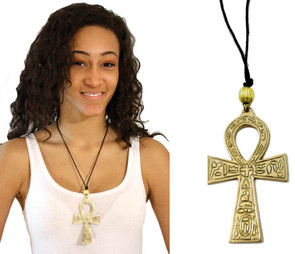 "3"" Brass  & Silver Ankh Necklaces"
