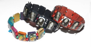 """Bob Marley Wooden Stretch Photo Bracelet  Bob Marley photo bracelets; 1"""" square portraits of legendary Bob Marley.  One size fits most & comes in various prints."""