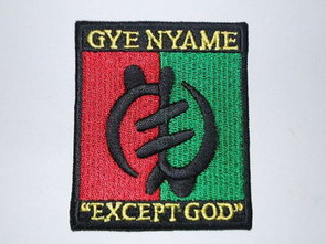 "Adinkra Iron-on Patch is 4"" x 3""   Gye Nyame meaning "" Except God I fear no one"""