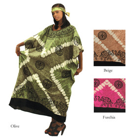 "The Wildlife Lover's Kaftan  This tropical inspired kaftan brings elephants and lush color into a striking African look. 100% rayon; best if hand washed. Fits up to a 70"" bust and is 51"" length. Made in India."