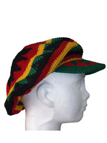 Hand knitted Rasta Newsboy Cap  100% Cotton. One size fits most.