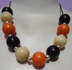 Orange & Brown Beaded Necklace